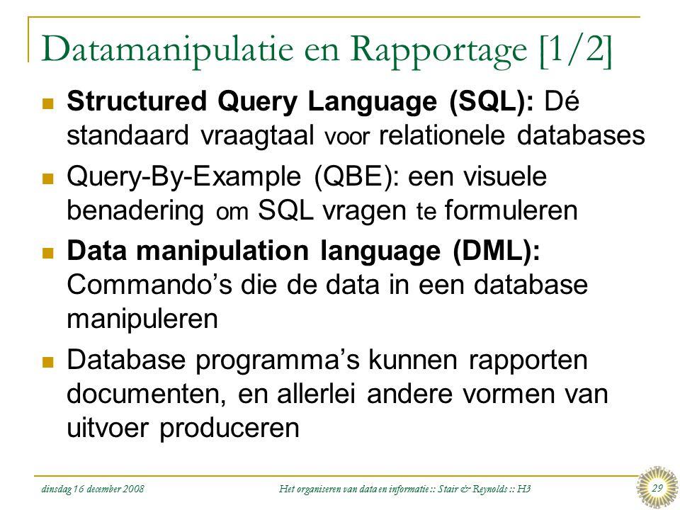 Datamanipulatie en Rapportage [1/2]